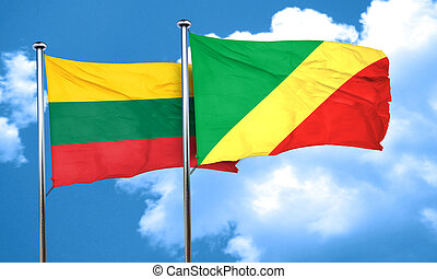 Lithuania flag with congo flag, 3D rendering