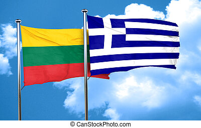 Lithuania flag with Greece flag, 3D rendering