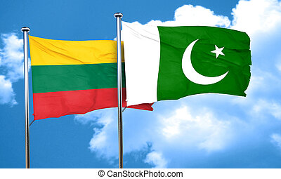 Lithuania flag with Pakistan flag, 3D rendering