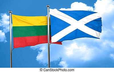 Lithuania flag with Scotland flag, 3D rendering