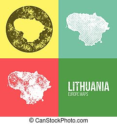 Lithuania Grunge Retro Map