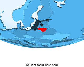 Lithuania in red on blue map
