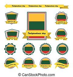 lithuania independence day flags infographic design