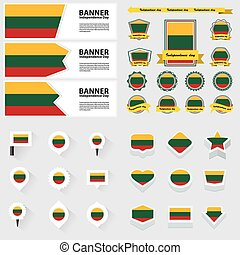lithuania independence day, infographic, and label Set.