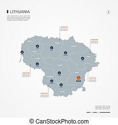Lithuania infographic map vector illustration.