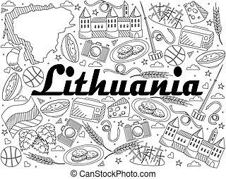 Lithuania line art design vector illustration