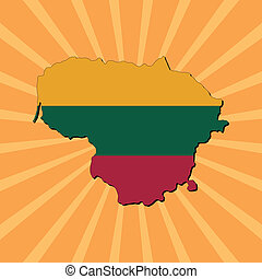 Lithuania map flag on sunburst