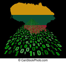 Lithuania map flag with binary foreground illustration
