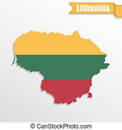 Lithuania map with flag inside and ribbon