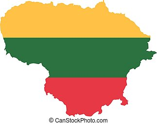 Lithuania map with flag
