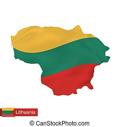 Lithuania map with waving flag of Lithuania.