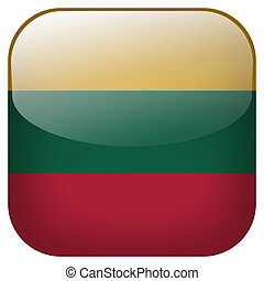 Lithuania national flag square button isolated on white ...