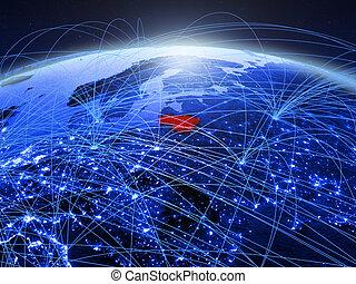 Lithuania on blue blue digital globe