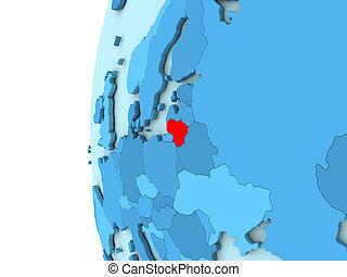 Lithuania on blue globe
