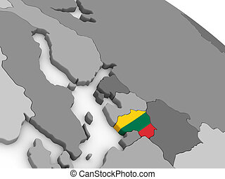 Lithuania on globe with flag