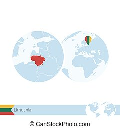 Lithuania on world globe with flag and regional map of Lithuania.
