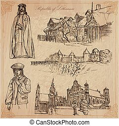 Travel collection. LITHUANIA traveling set. Pictures of Life, Republic of Lithuania. Hand drawn vector pack, freehand sketching.