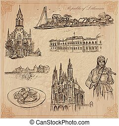 Travel collection. LITHUANIA traveling set. Pictures of Life, Republic of Lithuania. Hand drawn vector pack, freehand sketching. Illustrations are editable by layers. All things are named inside the vector