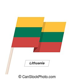 Lithuania Ribbon Waving Flag Isolated on White. Vector...