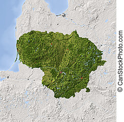 Lithuania, shaded relief map - Lithuania. Shaded relief map...
