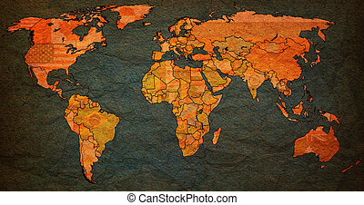 Lithuania territory on world map Lithuania flag on old stock