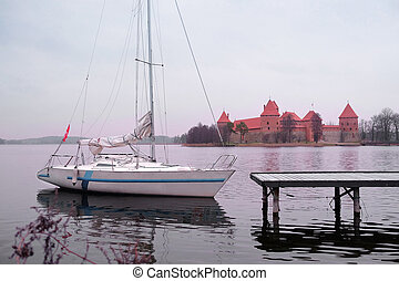 sailing ship against the lock in Trakaye, Lithuania