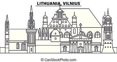 Lithuania, Vilnius line skyline vector illustration....