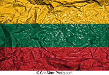 Lithuania vintage flag on old crumpled paper background