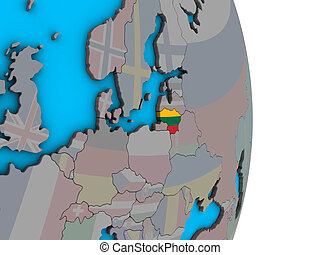 Lithuania with flag on 3D globe