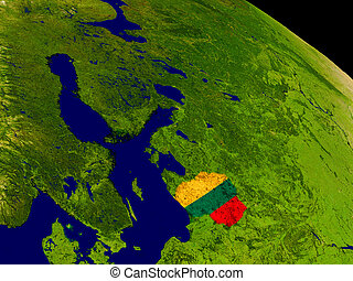 Lithuania with flag on Earth