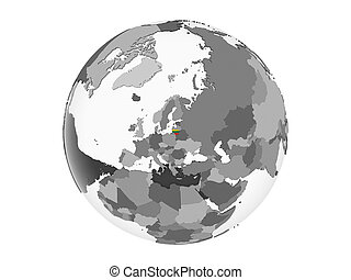 Lithuania with flag on globe isolated