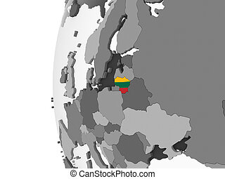 Lithuania with flag on globe