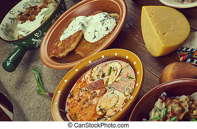 Lithuanian cuisine, Baltic Traditional assorted dishes, Top ...