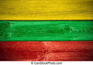 flag of Lithuania or Lithuanian banner on wooden background