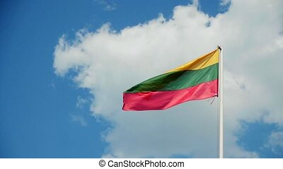 Lithuanian flag fluttering in the wind, slow motion
