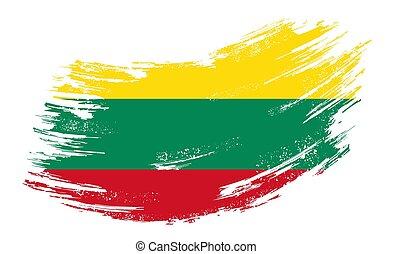 Lithuanian flag grunge brush background. Vector illustration...
