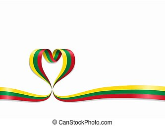 Lithuanian flag heart-shaped ribbon. Vector illustration. - ...