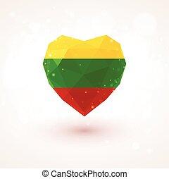 Lithuanian flag in shape diamond glass heart. Triangulation style