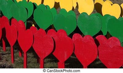 Lithuanian flag made painted hearts - Lithuanian flag made...