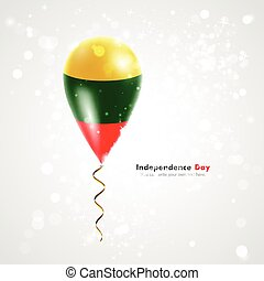 Lithuanian flag on balloon. Celebration and gifts. Ribbon in...