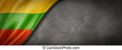 Lithuanian flag on concrete wall banner