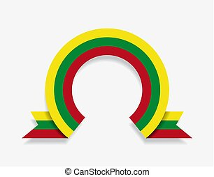 Lithuanian flag rounded abstract background. Vector ...