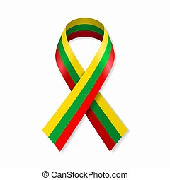 Lithuanian flag stripe ribbon on white background. Vector ...