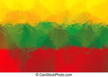 Lithuanian flag - triangular polygonal pattern