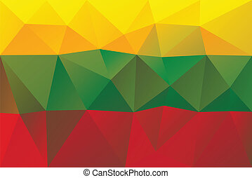 Lithuanian flag - triangular polygonal vector pattern