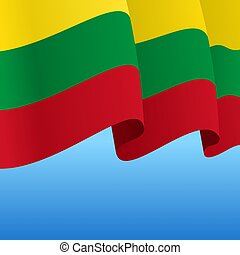 Lithuanian flag wavy abstract background. Vector ...