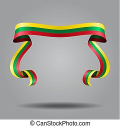 Lithuanian wavy flag abstract background. Vector illustration.