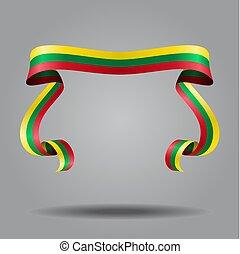 Lithuanian flag wavy ribon background. Vector illustration...