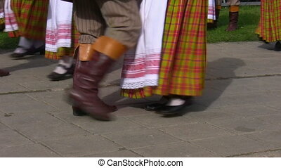 Lithuanian folk dancers - Lithuanian folk dance group men...