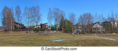 Lithuanian no name village March spring panoramic landscape